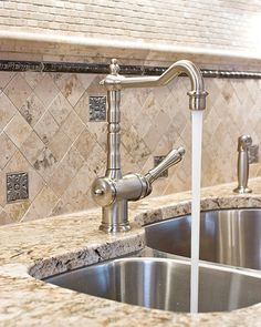 Traditional Home Kitchen Backsplash With Granite Countertops Design, Pictures, Remodel, Decor and Ideas - page 37 Maybe oil rubbed bronze metal tile accent instead.