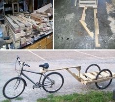 Pallet bike trailer.... humm cute but maybe something to carry kids instead!