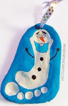 Celebrate the season with this awesome Olaf from Frozen footprint ornament craft!