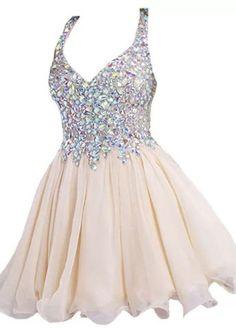 $138.99 2016 Homecoming Dresses Spaghetti Straps A-Line Champagne Chiffon