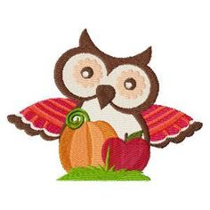 Autumn Owls - Click Image to Close Owl Embroidery, Custom Embroidery, Machine Embroidery Designs, Embroidery Stitches, Embroidery Services, Embroidered Quilts, Autumn Decorating, Owl Print, Animal Design