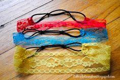 DIY: Lace Headbands w/regular hair elastics