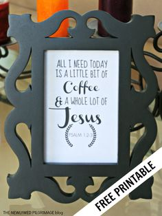 All I Need Today Is A Little Bit of Coffee and A Whole Lot of Jesus - Free Printable