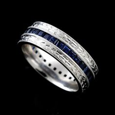 Hand Crafted Antique Style Princess Sapphire Men's Wedding Band 7mm