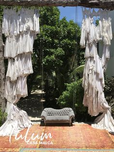 Pablo Escobar's old Mansion has been converted into a resort. The entry is pretty amazing with curtains made of wedding dresses. When you earn billion a year in cocaine you can have as many wives as you want haha Tulum Mexico, Pablo Escobar, Old Mansions, Cancun, Tropical, Curtains, Vacation, Wedding Dresses, Amazing