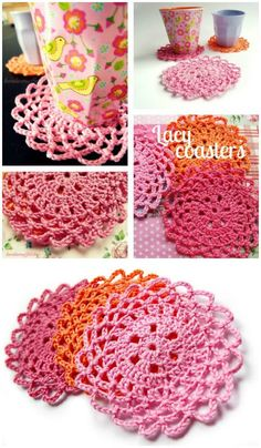 DIY Lacy Crochet Coasters-Free Pattern, Free crochet coaster patterns with easy tutorials! How to crochet a coaster for beginners!