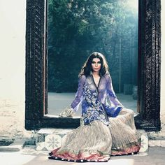Pakistani model Amna Baber posing for Elan.