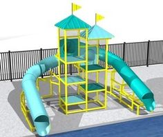 Item Number: 5782-1  Teal Blue Slide: 36' Long.  Sky Blue Slide: 33' Long.  Waterslide
