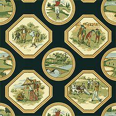 Golf –Wallpaper  Collection Castle Pine  Colorway Black  SKU T6305 #Thibaut