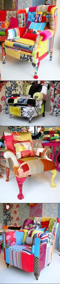 COLORED DIY CHAIRS. omg this would look so good on our old furniture