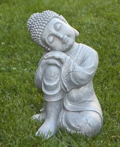 Anchor your green spaces in tranquility with this serene resting Buddha statue. His eyes are closed in peaceful contemplation, reflecting his inner peace and harmony within his surroundings. This statue can inspire you to breathe deeper, meditate often, and connect spiritually with your environment.