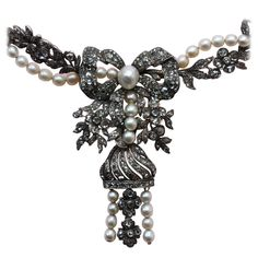 Pearl Rose Cut Diamond Flower Garland Necklace. Dutch, circa 1850. with original box retailed by J.A. Hoetink, crownjeweller to the Dutch throne.