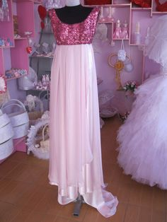 Custommade silk satin and sequined evening dress by Intromod, $132.00