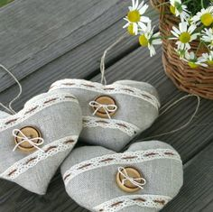 Three hearts  linen ornaments by BelaStitches on Etsy, $16.00