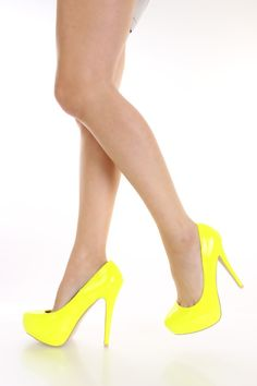 Yellow Patent Faux Leather Pump Heels