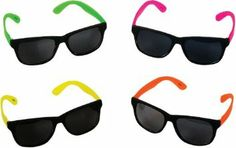 Rhode Island Novelty Neon Style Party Sunglasses with Dark Lens, Pack of 24 24 Pack of Kids Sunglasses Assorted Colors With Dark Lens Packaged With Precision For Maximum Protection Eye-catching party favors designed to let the good times roll. Kids Sunglasses, Wayfarer Sunglasses, Retro Sunglasses, Novelty Sunglasses, Summer Sunglasses, Sunglasses Outlet, Rhode Island Novelty, Neon Party, 80s Party