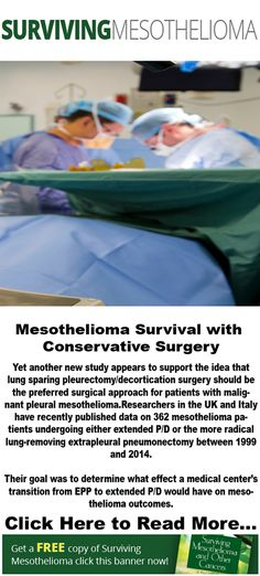 Yet another new study appears to support the idea that lung sparing #pleurectomy/decortication surgery should be the preferred surgical approach for patients with malignant pleural #mesothelioma.  Researchers in the UK and Italy have recently published data on 362 #mesothelioma patients undergoing either extended P/D or the more radical lung-removing extrapleural pneumonectomy between 1999 and 2014.  Their goal was to determine what effect a medical center's transition from EPP to extended…