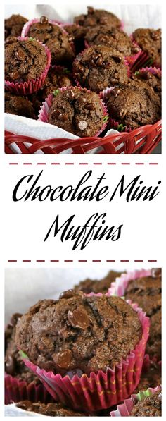 Chocolate Mini Muffins - Moist deep chocolate muffins topped with mini chocolate chips