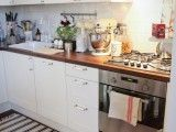White cabinets, butcherboard tops