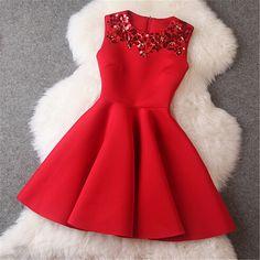 Beaded Dress in Red #black #bridemaid #dress #floral #graduation-dress #handmade #long-sleeve #prom-dress #vintage