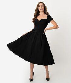 Unique Vintage 1950s Black Sweetheart Midge Swing Dress