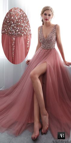 Necklines for dresses - Elegent Delicate Tulle Vneck prom dress Aline Evening Dress Beaded party dress – Necklines for dresses V Neck Prom Dresses, Necklines For Dresses, Sexy Dresses, Beautiful Dresses, Fashion Dresses, Tulle Prom Dress, Long Dresses, Blush Prom Dress, Fashion 2018