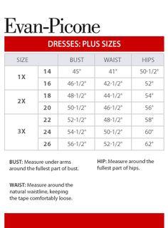 Evan-Picone Plus Size Chart via Macys.com
