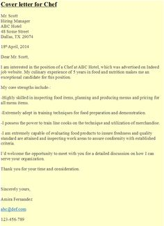 cover letter for chef httpshipcvcom - Cover Letters For Chefs
