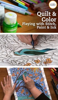 Have you ever wanted to create a highly complex quilt design with an appliqued look but just can't bring yourself … Thread Art, Thread Painting, Fabric Painting, Fabric Art, Fabric Crafts, Quilting Tutorials, Quilting Designs, Quilt Design, Design Art