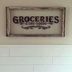 Nice 3D shadowing. First and last letter bigger so smaller text fits underneath. ||| Wood window hand painted to look like a vintage grocery sign