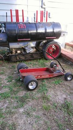 Custom rat rod hot rod radio flyer wagon I built for the kiddos