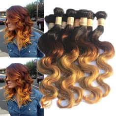 "Wholesale 14""16""18""20""Human Hair Extensions, 3Colors1B+33+27# Brazilian Hair 50g #wigiss #HairExtension"