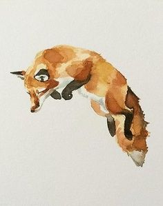 Jumping Fox Hand Painted Watercolour Painting By Laura Parkes in | eBay