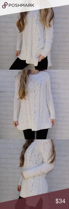 Comfy sweater -MODEL REFERENCE | Height: 5'4 | Weight: 115lbs.  item info. // -Cable knit. -high/ low style. -Super cozy! -2 barely even noticeable stains, shown in pictures! -Color: white. -Material: 100% cotton.  closet info. // + Create a bundle of your likes and I'll send you a private offer! + Offers encouraged! + Have Any Questions? Just Ask!😊 l.a. hearts Sweaters