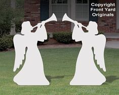 Trumpeting silhouette style Angel pair is a beautiful Christmas display by itself or as an addition to one of our outdoor Nativity displays. Made from all-weather pvc plastic material that will last for years. Christmas Angel Decorations, Christmas Yard Art, Christmas Nativity Scene, Christmas Wood, Christmas Angels, Christmas Crafts, Outdoor Nativity Scene, True Meaning Of Christmas, Beautiful Christmas