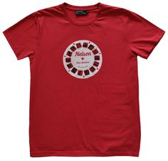 Mens Nelson retro viewfinder t shirt in cranberry. Hand drawn and hand printed by Sonja in Nelson, New Zealand. Nelson New Zealand, Mens Tees, My Design, Retro, T Shirt, Tops, Fashion, Supreme T Shirt, Moda