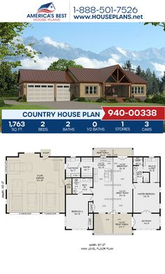 Plan 940-00338 features a Country home design with 1,763 sq. ft., 2 bedrooms, 2 bathrooms, a kitchen island, an open floor plan, a sunroom, and a mudroom. #countryhome #architecture #houseplans #housedesign #homedesign #homedesigns #architecturalplans #newconstruction #floorplans #dreamhome #dreamhouseplans #abhouseplans #besthouseplans #newhome #newhouse #homesweethome #buildingahome #buildahome #residentialplans #residentialhome