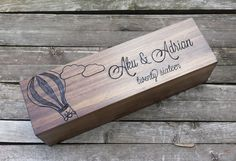 Hot air balloon wine box, wine gift box, wedding wine box, custom wine box, wine box ceremony, wedding memory box, first fight box, gift  PLEASE NOTE: I am currently only taking orders for wedding dates after February 15, 2017. Thank you for your understanding.  In some cases, rush orders may be accommodated. Please contact me for details.  The box that is pictured is just an example of one of the designs that Ive done. I can do anything on this box that you want. It can be wood burned…