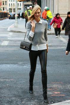 Karlie Kloss wearing Chanel Classic Flap Bag in Black and Tamara Mellon Sweet Revenge Leather Legging Boots
