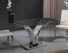 Modern V shaped base glass dining table Luxury Dining Tables, Glass Round Dining Table, Glass Table, Iron Furniture, Unique Furniture, Furniture Design, Sofa Table Design, Coffee Table Design, Table Inox