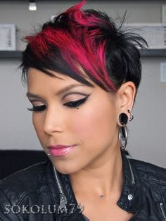 Heather's cute short hair and red block color. I really should do this in purple or blue.