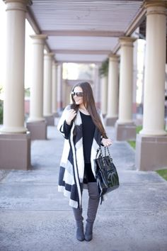 Oversized Sweater  Chanel, Winter, Over the knee boots, Casual, Hair, Black, Grey, Fashion, Style, Woman's Fashion, Blogger, Blog, Fashion Blogger, Outfit Ideas, Outfit Inspiration
