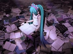 I love books. I love that moment when you open one and sink into it, you can escape from the world into a story that is a way more interesting than yours will ever be. ♥ #miku #vocaloid #gif