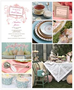 Vintage Bridal Shower, Wedding or Bachlorette soiree Inspiration Board...Shabby Chic inspired full of great recycled finds with just enough femine flair...really like this!