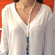 Collar de perlas de rio irregulares con adornos en baño de oro. Modelo Lucerna: Amazon.es: Handmade