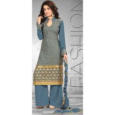 New Grey Palazzo Style Designer Unstitched Salwar Suit-FA269-5(FFH-FA269)