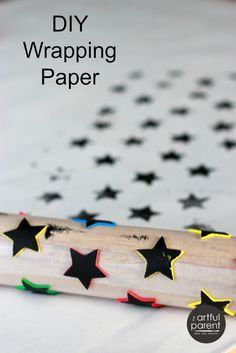 Handmade Wrapping Paper with Foam Stickers