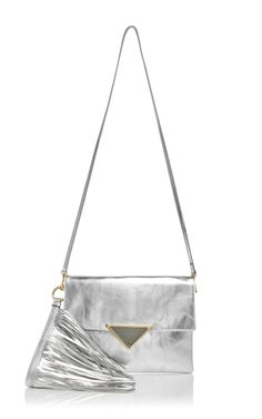 Silver Calf Leather Teresa Clutch With Fringed Handle by Sara Battaglian now Available on Moda Operandi