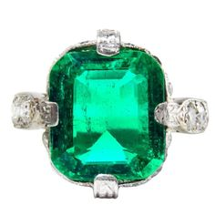 3.95 Carat Untreated Colombian Emerald Diamond Platinum Ring | From a unique collection of vintage more rings at https://www.1stdibs.com/jewelry/rings/more-rings/
