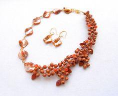 Mother of pearl  Fall orange  Rowan berries  by insoujewelry, $81.00